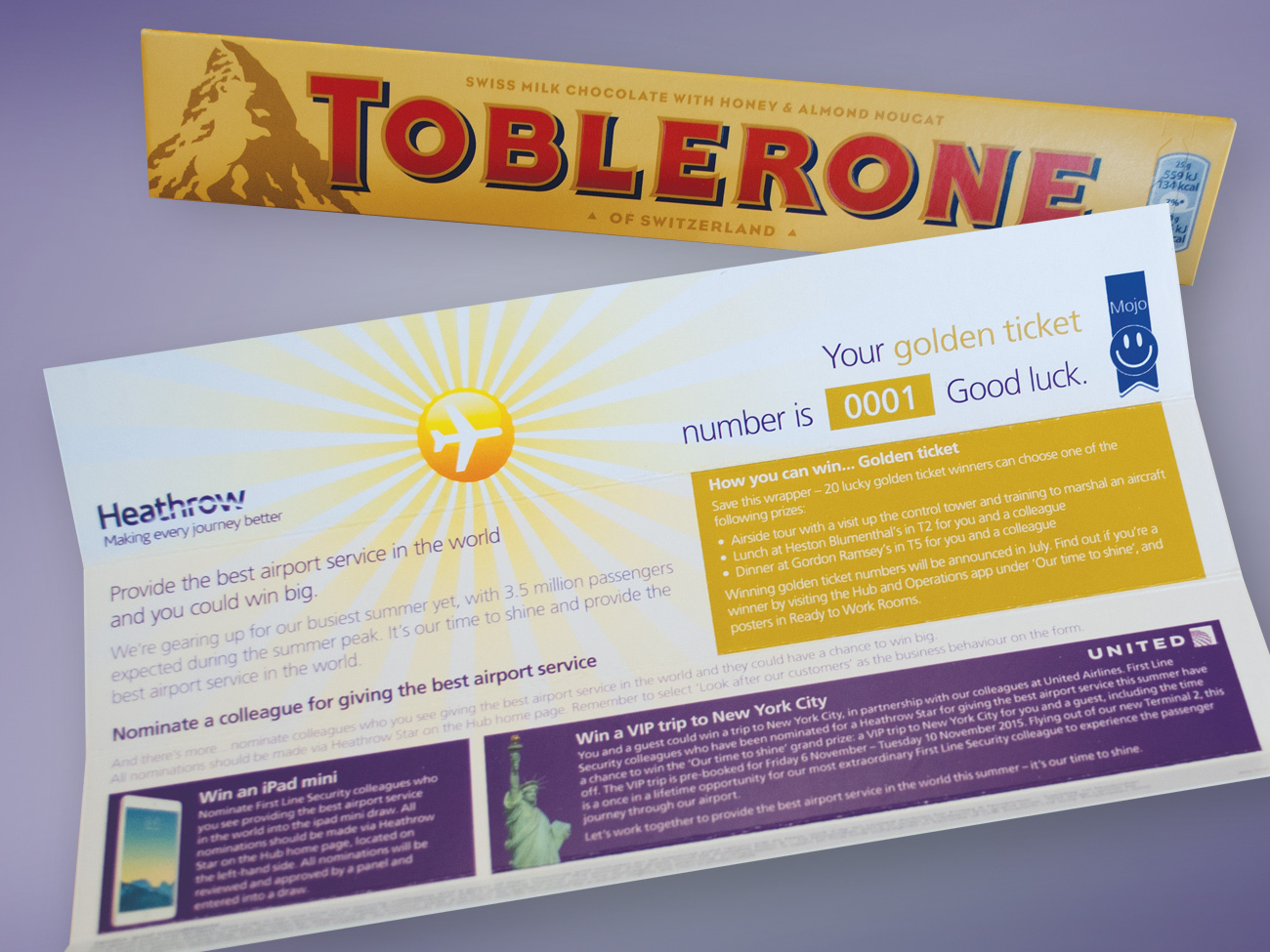 Toblerone Golden Ticket Staff Incentive