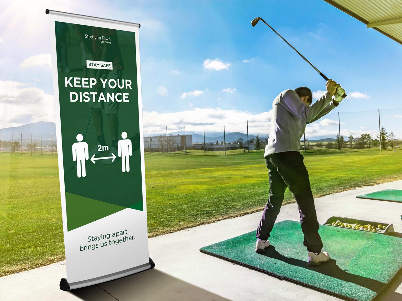 Social Distancing Golf Banner