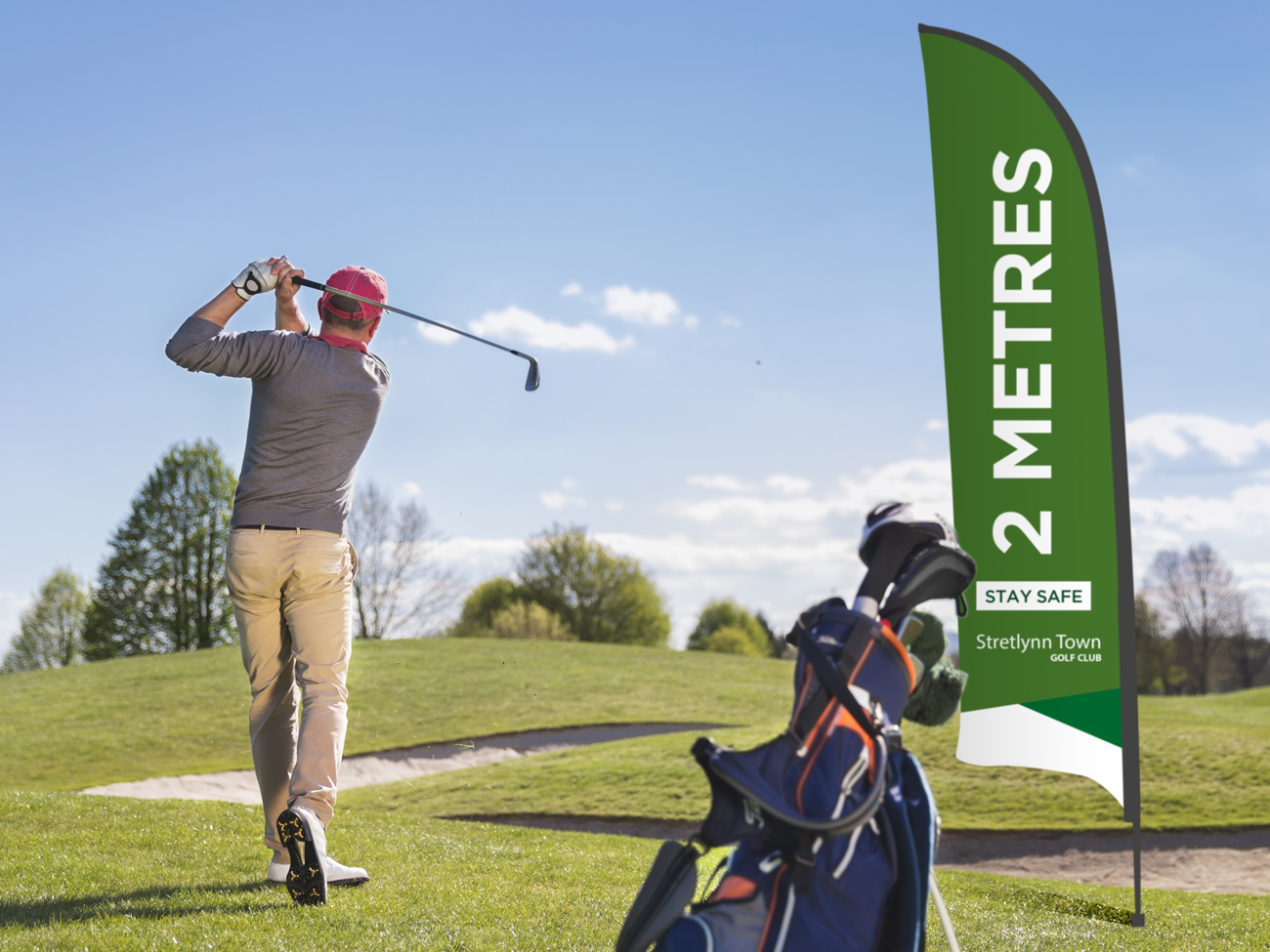 Social Distancing Golf Flag