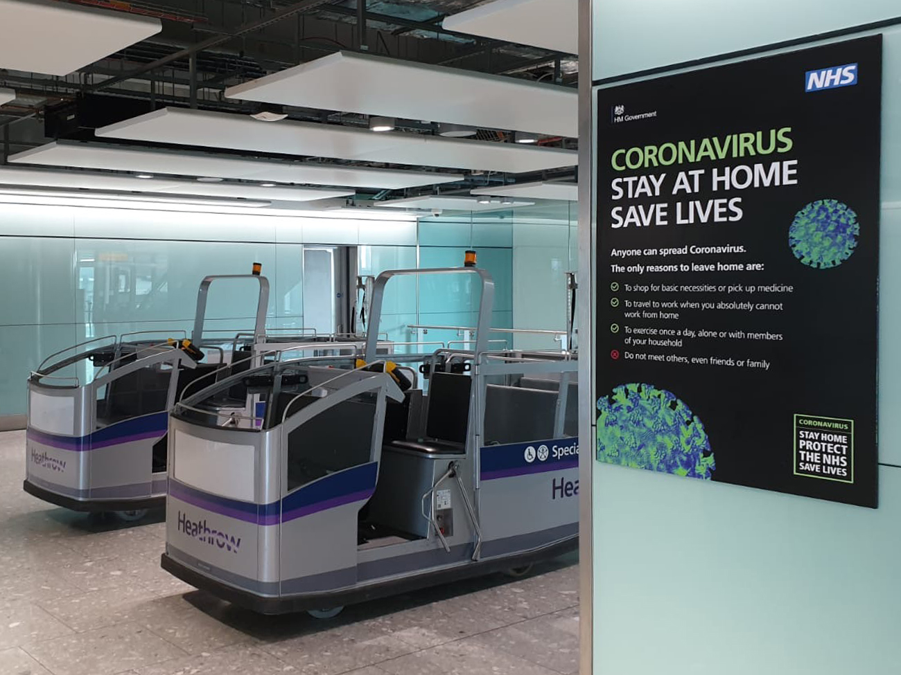 Coronavirus Poster Heathrow buggy