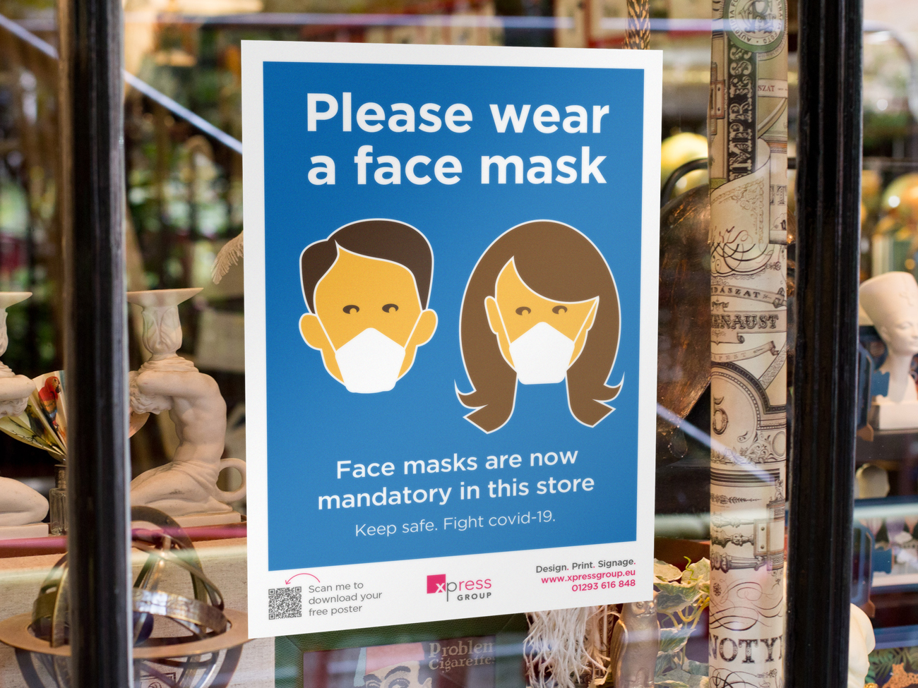 Download and print a free face mask shop poster