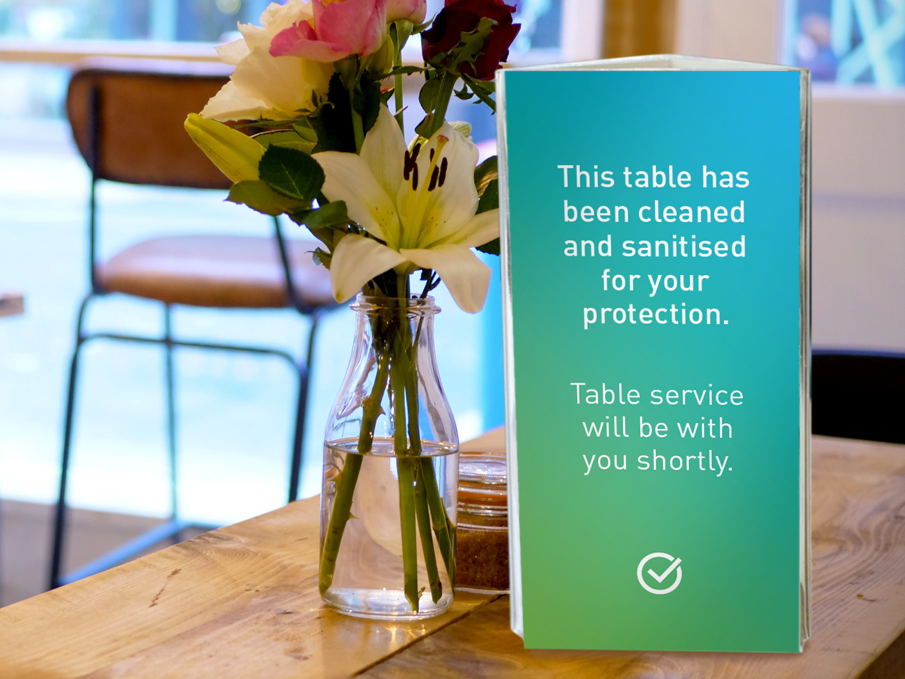 Covid Clean cafe sanitised table signage