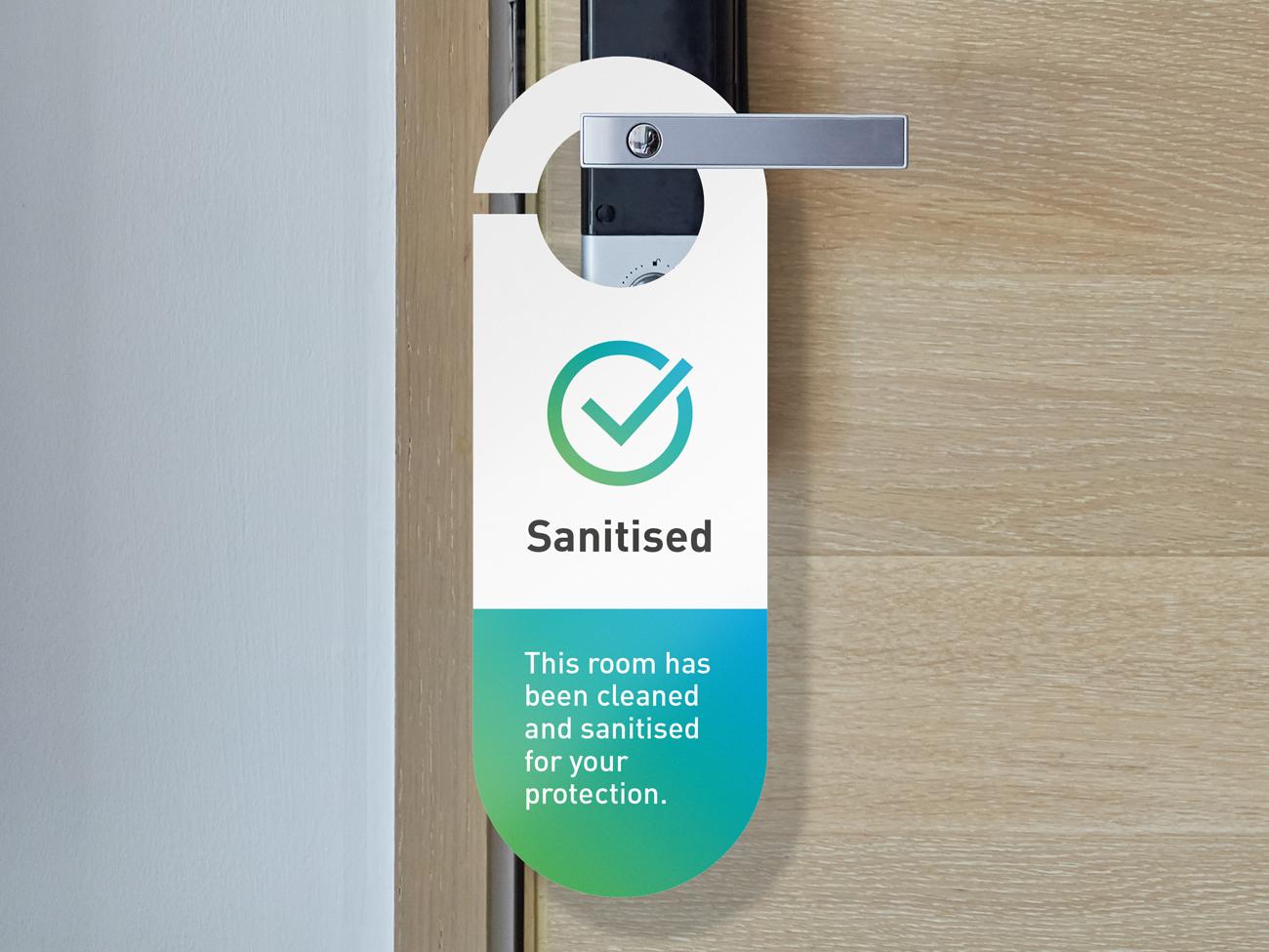 Covid Clean sanitised hotel door hanger