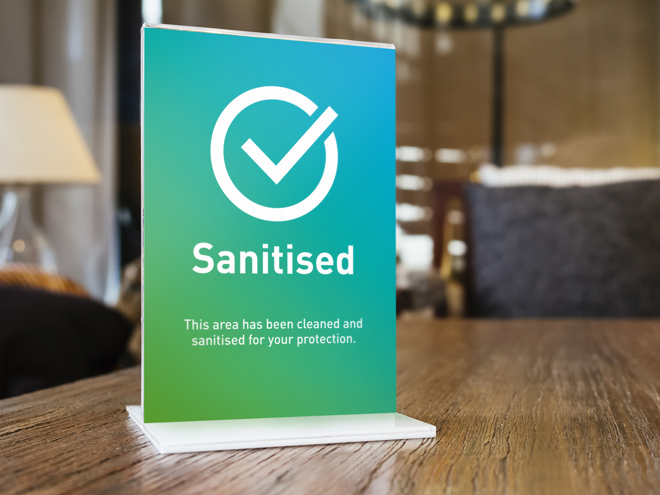 Covid clean sanitised acrylic display