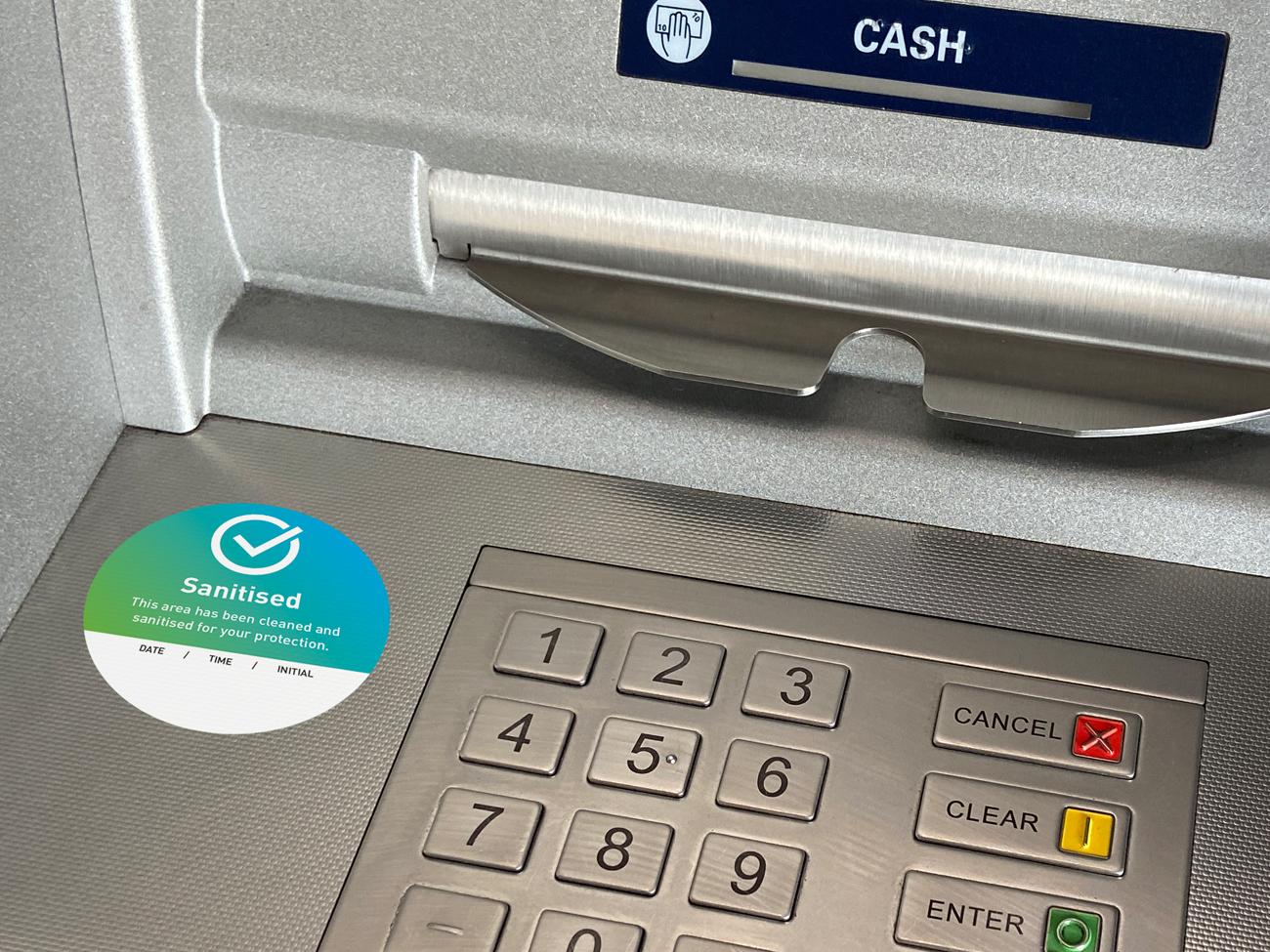 Covid Clean cashpoint atm sticker