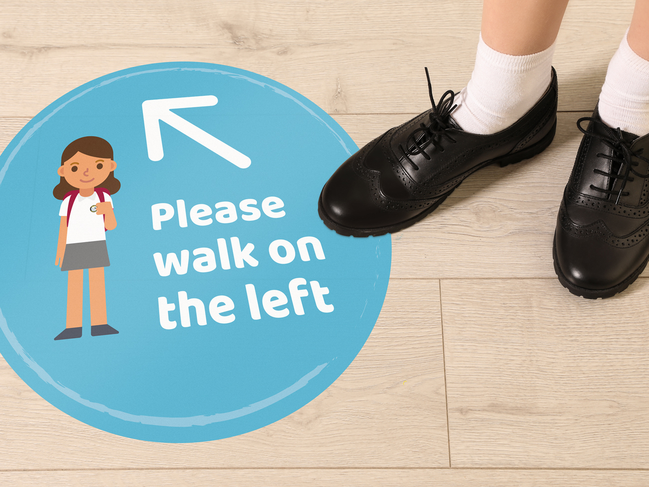 School social distancing floor graphics