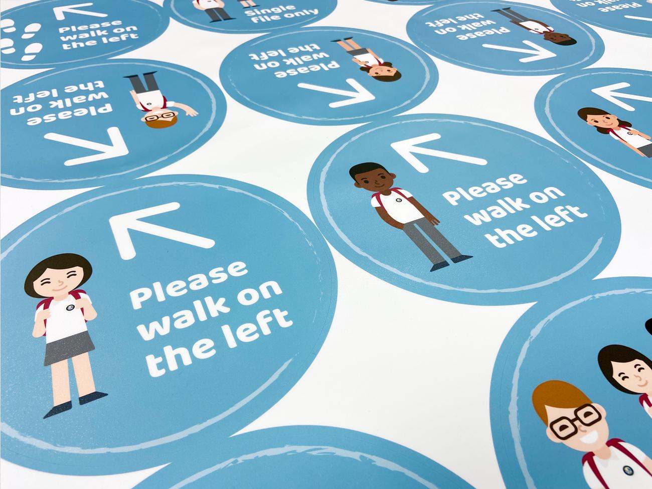 Durable school floor stickers