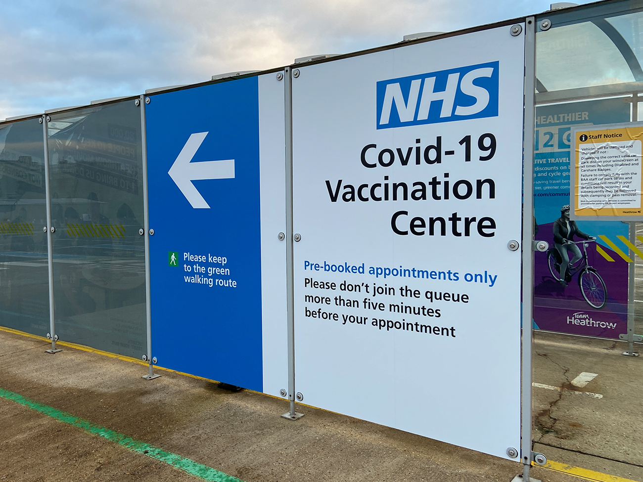 NHS Vaccination Centre Bus Shelter signage