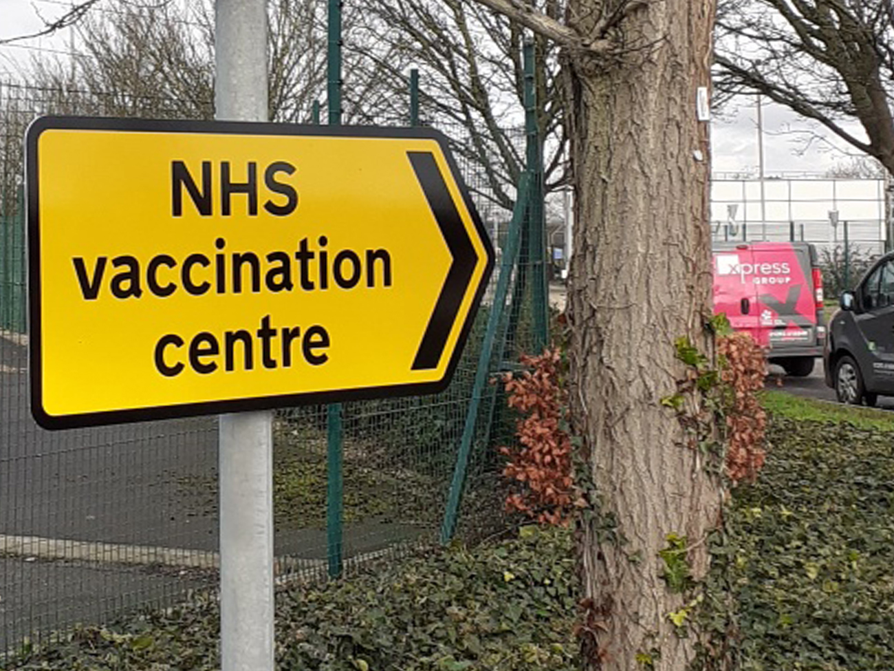 NHS Vaccination Centre road signage