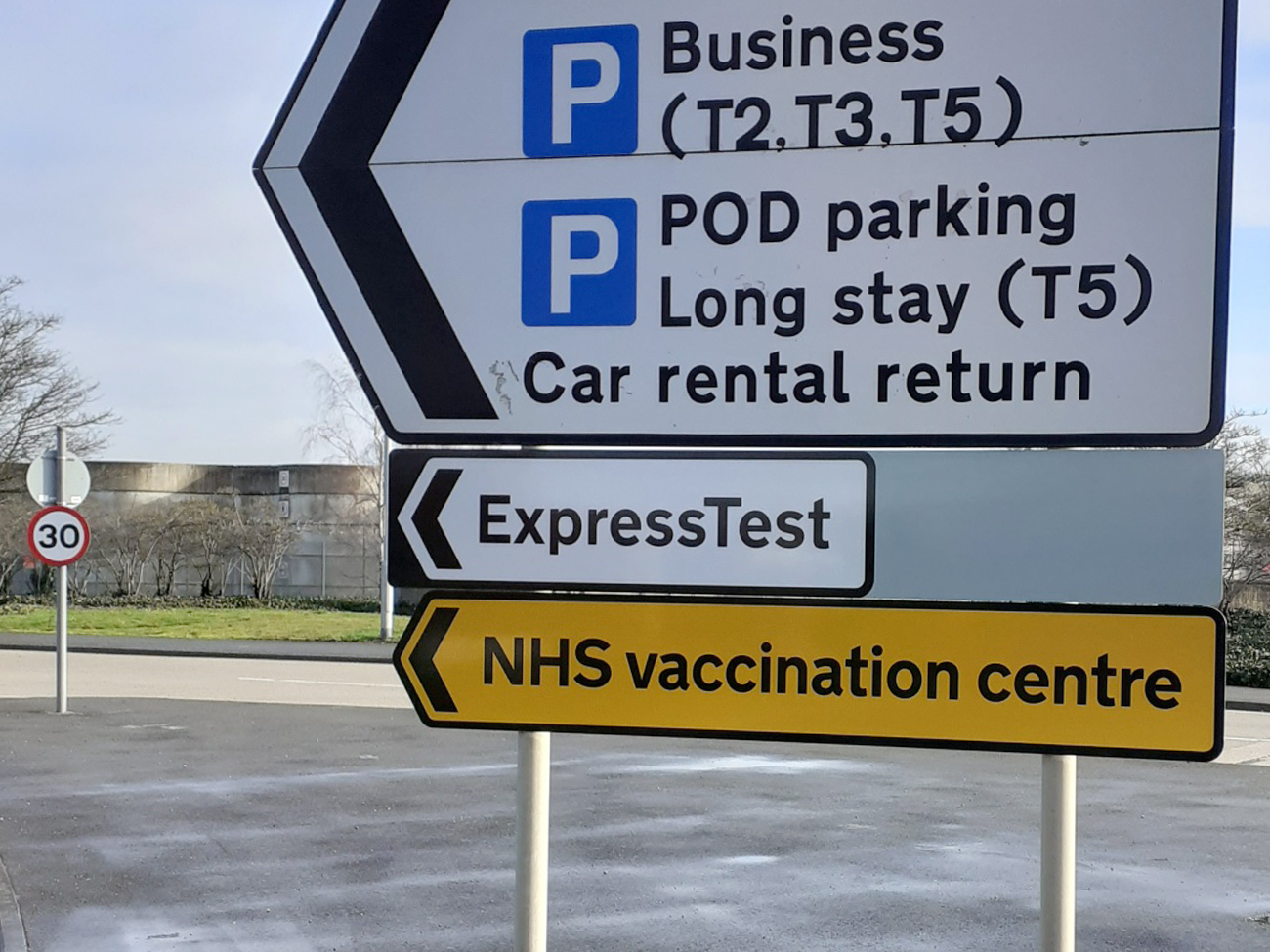 NHS Vaccination Centre highway signage