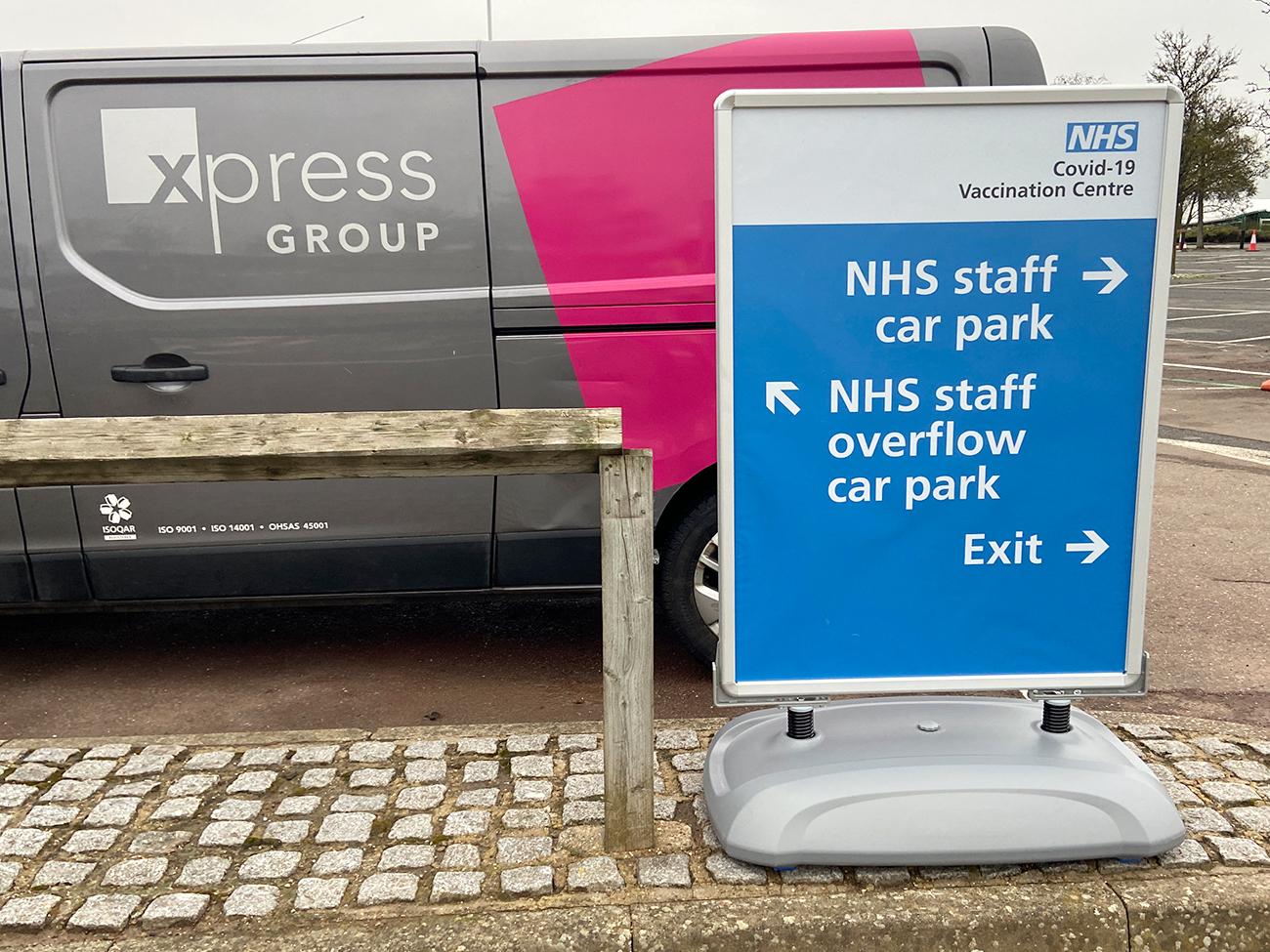 NHS Vaccination Centre Car Park Signage